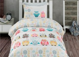 Lenjerie pat 3 piese, bumbac 100% ranforce,1 persoana,  Bahar Home, Owl