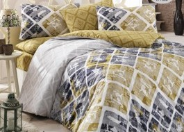 Lenjerie pat 3 piese, bumbac 100% ranforce,1 persoana,  Bahar Home, Riviera Yellow