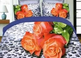 Lenjerie pat 3D + Pilota vara +2Perne PC0116 Trandafiri Portocalii