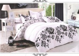 Lenjerie pat alb cu negru 1