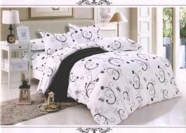 Oferta 1+1gratis: Lenjerie de pat dublu 4 piese alb cu negru 2