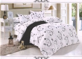 Lenjerie pat alb cu negru 2