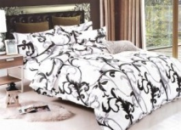Lenjerie pat alb cu negru A200