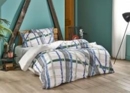 Lenjerie pat cu elastic pentru saltea de 160x200cm, bumbac 100% ranforce, TAC, Fisher