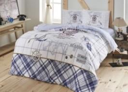 Lenjerie pat cu elastic pentru saltea de 160x200cm, bumbac 100% ranforce, TAC, Sea Side