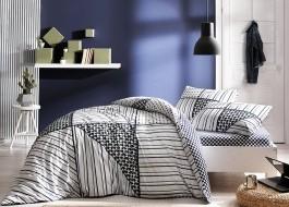 Lenjerie pat cu elastic pentru saltea de 160x200cm, bumbac 100% ranforce, TAC, Zone