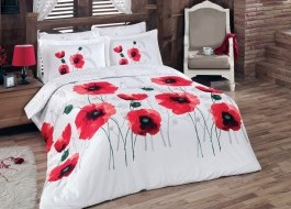 Lenjerie de pat satin de lux, Class Home Collection, Maci Rosii