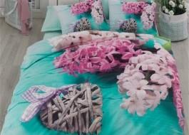 Lenjerie pat dublu 3D bumbac 100% ranforce, Cotton Box, Flora - Turquoise