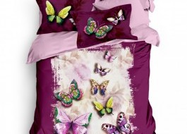 Lenjerie pat dublu bumbac 100% ranforce, Club Cotton, Butterfly