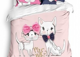 Lenjerie pat dublu bumbac 100% ranforce, Club Cotton, Pisy Cats