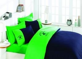 Lenjerie pat pentru 2 persoane Beverly Hills Polo Club, bumbac satinat, 106 Green Dark Blue