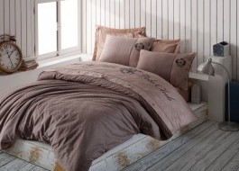 Lenjerie pat pentru 2 persoane Beverly Hills Polo Club, bumbac satinat, cod 105 Brown