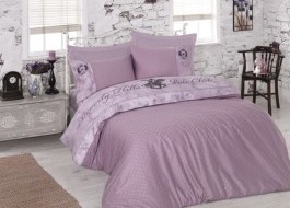 Lenjerie pat pentru 2 persoane Beverly Hills Polo Club, bumbac satinat, cod 105 - Lilac