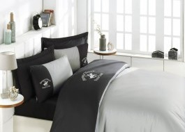 Lenjerie pat pentru 2 persoane Beverly Hills Polo Club, bumbac satinat, cod 106 - Anthracite, Grey