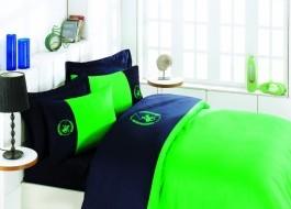 Lenjerie pat pentru 2 persoane Beverly Hills Polo Club, bumbac satinat, cod 106 - Dark Blue, Green