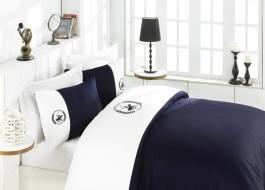 Lenjerie pat pentru 2 persoane Beverly Hills Polo Club, bumbac satinat, cod 106 - White, Dark Blue