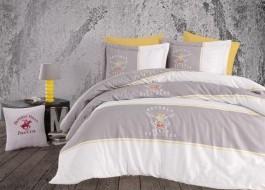 Lenjerie pat pentru 2 persoane Beverly Hills Polo Club,100% bumbac satinat,102 Gri