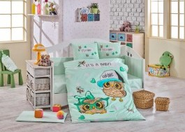 Lenjerie patut bebelusi bumbac 100% poplin, Hobby Home Coolbaby - Mint