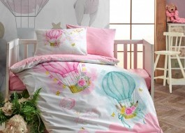 Lenjerie patut bebelusi bumbac 100% ranforce, Cotton Box, Little Princess - Pink