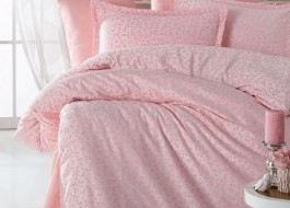 Lenjerii de pat de lux jacquard satin, Ralex Pucioasa, Adenya v2 roz