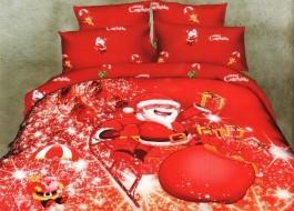 Lenjerii de pat dublu imprimeu Craciun, Ralex Pucioasa, Happy Santa