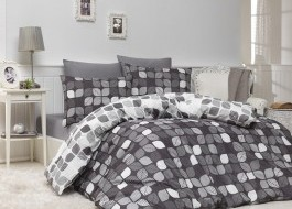 Lenjerii de pat ranforce, Bahar Home, Bunku - Grey