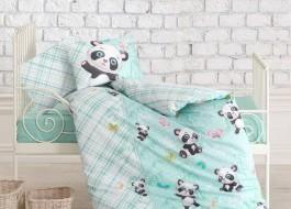 Lenjerii patut bebelusi bbc 100%, Cotton Box, Panda - Mint