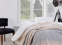 Patura bumbac si acryl 150x220cm, Eponj Home,Stripe Grey