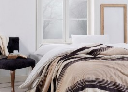 Patura bumbac si acryl 180x220cm, Eponj Home, Stripe Brown