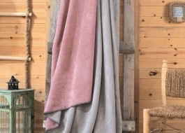 Patura bumbac si acryl 200x220cm, Cotton Box, Roz/Gri
