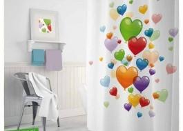 Perdea dus cu 12 inele, dimensiunea 180x200cm - 3D Heart Balloons
