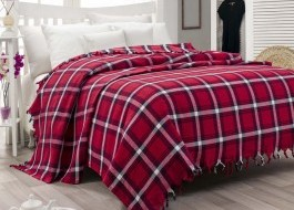 Pled scotian bumbac 100%, 200x240cm, Eponj Home, model Craciun, Red