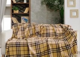 Pled subtire 200 x 230 cm, bumbac 100%, Class Bahar Home Collection, Galben-Mustar