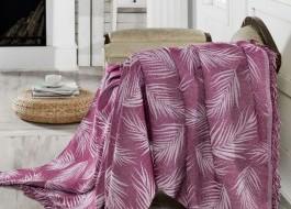 Pled subtire bumbac 100%, 170x220cm, Eponj Home, Palmiye - Purple