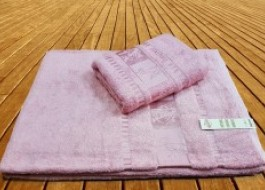 Prosop bambus organic 100x150cm roz pudra