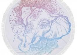 Prosop plaja rotund bumbac 100% cu franjuri, Fouta Elefant