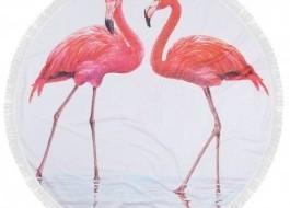 Prosop plaja rotund bumbac 100% cu franjuri, Fouta Flamingo 2
