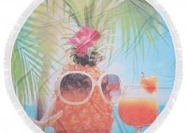 Prosop plaja rotund bumbac 100% cu franjuri, Fouta Tropics Ananas