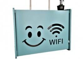 Raft suport Router Wireless din lemn pentru mascare fire si echipament WIFI, turcoaz