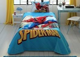 Set 1 persoana cuvertura + fata perna, bumbac 100%, Tac, Spiderman Marvel