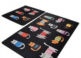 Set 2 covorase baie, Alessia Home, Black Cats