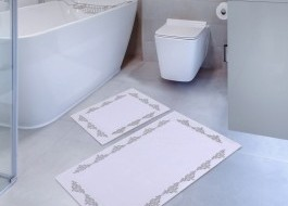 Set 2 covorase baie bumbac 100%, Hobby Home, Sapphire White (Alb)
