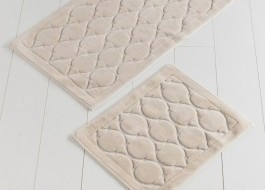 Set 2 covorase baie bumbac, Alessia Home, Dante - Beige