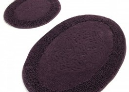 Set 2 covorase baie bumbac, Alessia Home, Piante Oval - Mov Purple
