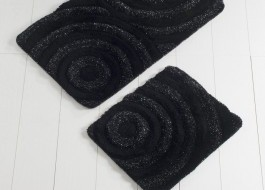 Set 2 covorase baie bumbac, Alessia Home, Wave - Black