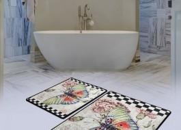 Set 2 covorase baie dreptunghiulare, Chilai Home, Mariposa