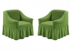 Set 2 huse elastice din material creponat, cu volan, pentru fotoliu, Verde (6016)