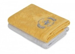 Set 2 prosoape 50x90cm bumbac 100%, Beverly Hills Polo Club, 402 - Mustard, Light Grey