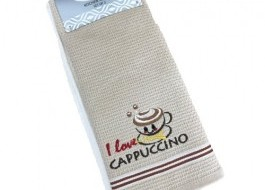 Set 2 prosoape bucatarie bumbac 100%, I Love Cappuccino