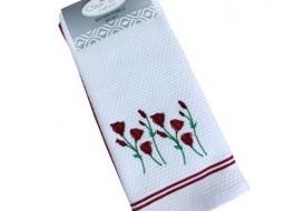 Set 2 prosoape bucatarie bumbac 100%, Floricele rosii